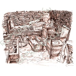 Dibujo a plumilla: Museo de Aguillón. Taramundi-Asturias