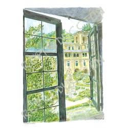 P. Feijoo desde la ventana. Samos (Lugo)